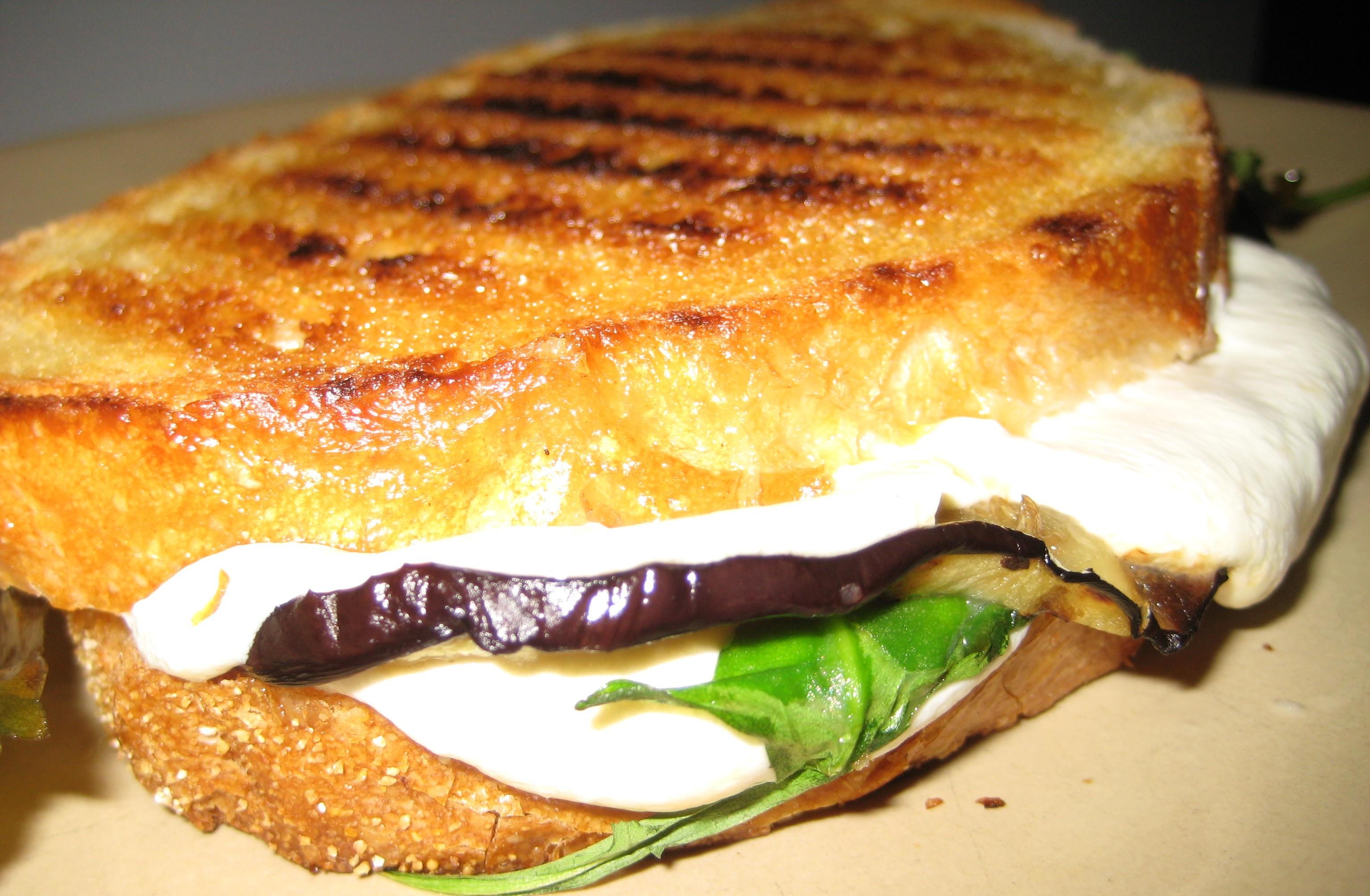 Grilled Eggplant, Arugula, and Mozzarella Panini Recipe on Food52