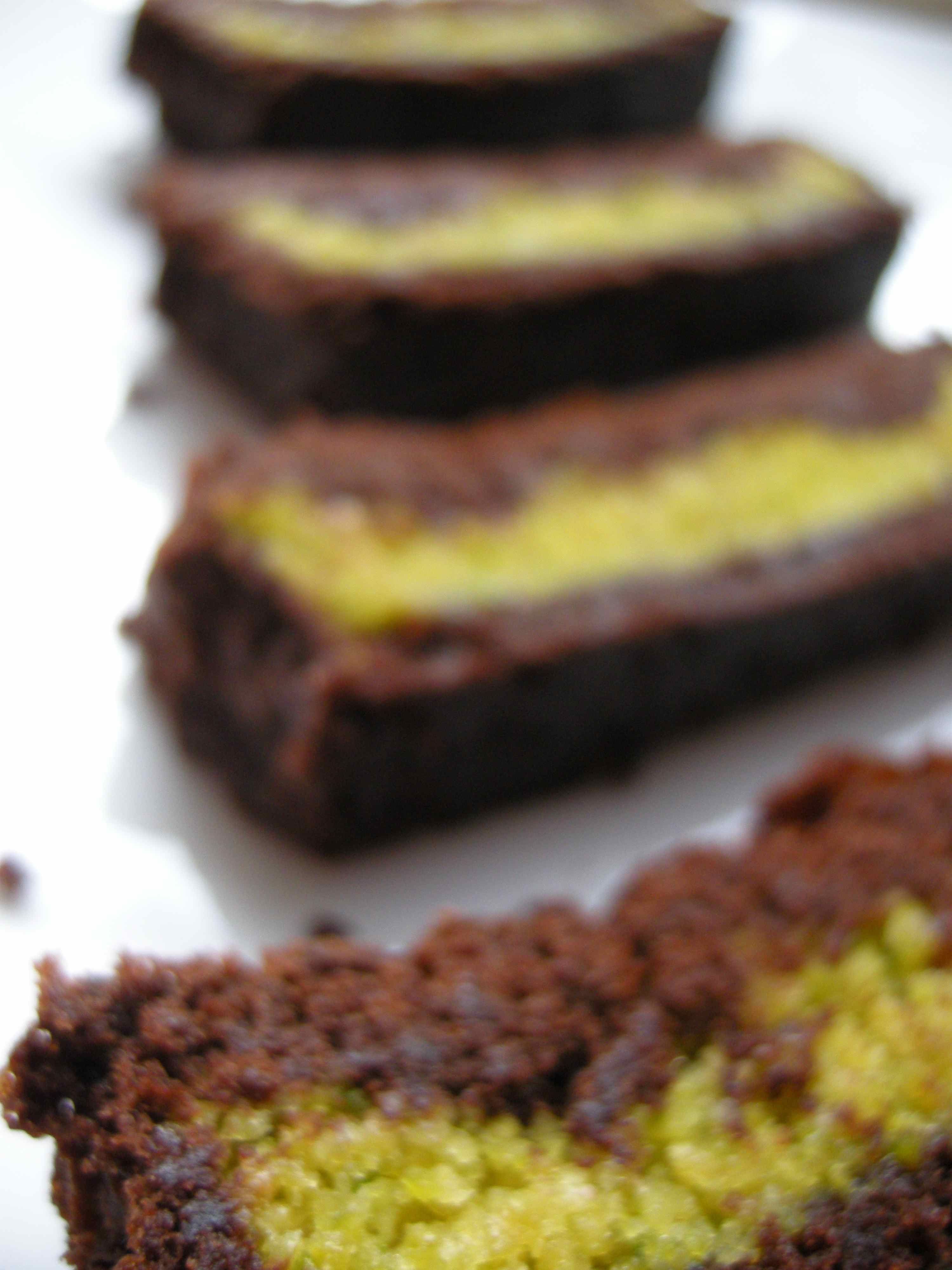 Pistachio Marzipan Brownie Tart