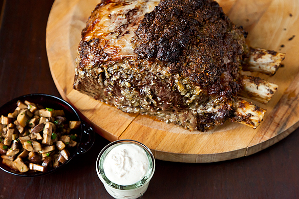 Roasted Prime Rib with Sauteed Mushrooms and Mom&#x27;s Creamy Horseradish Sauce