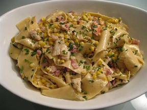 Pappardelle with Corn, Lobster, Pancetta and Crème Fraiche