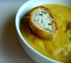 Savory Squash Soup with Parmesan Croutons
