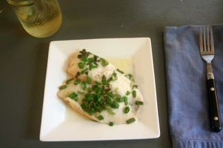 Tilapia in White Wine with Scallions & Thai Basil