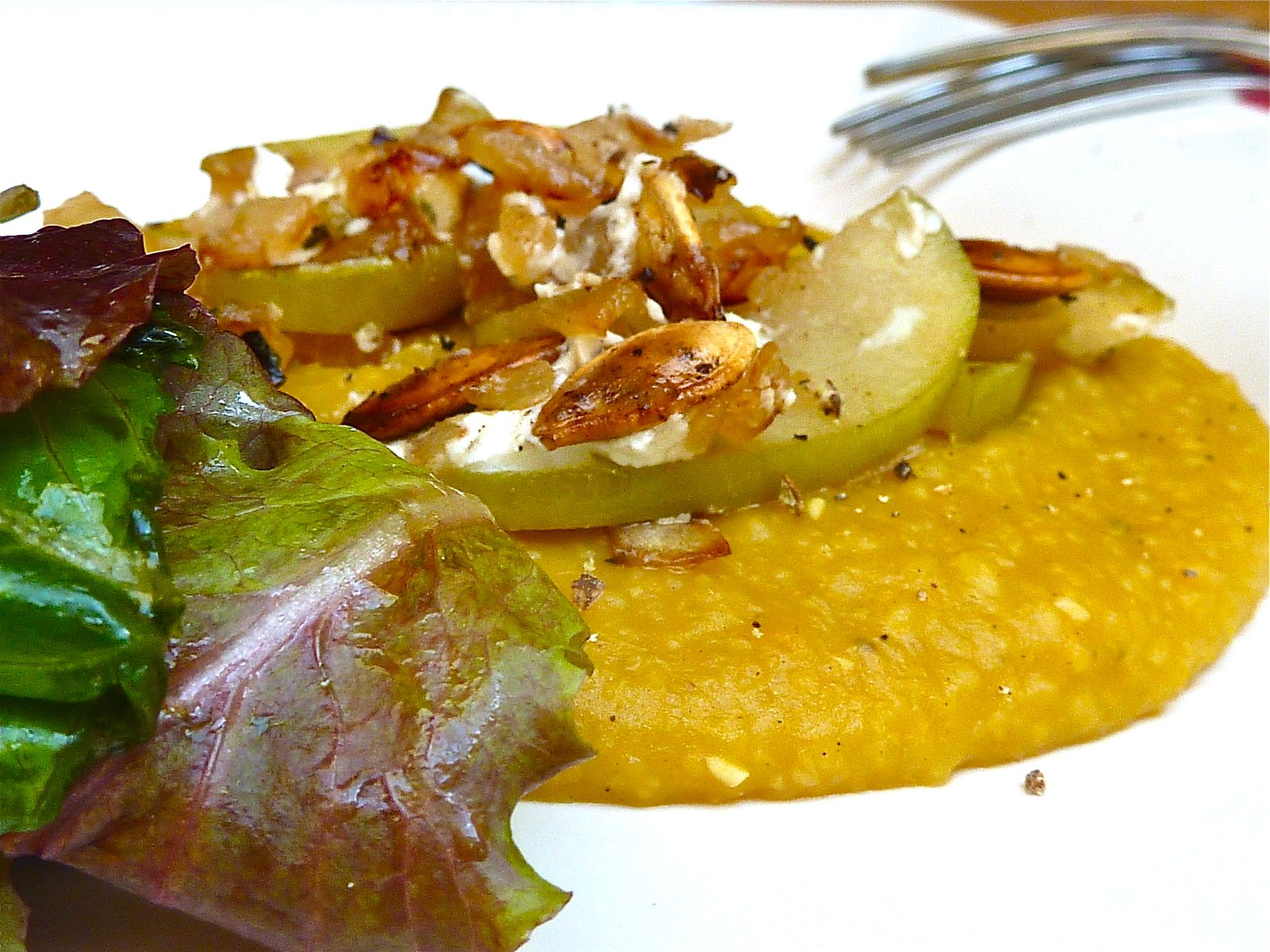 Creamy Pumpkin Polenta with Apple and Feta Crumble