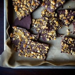 Caramelized crispy rice bark