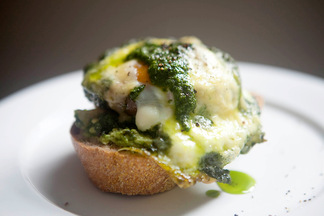Roasted Portabello Mushroom Baked with Egg, Pesto and Cheddar