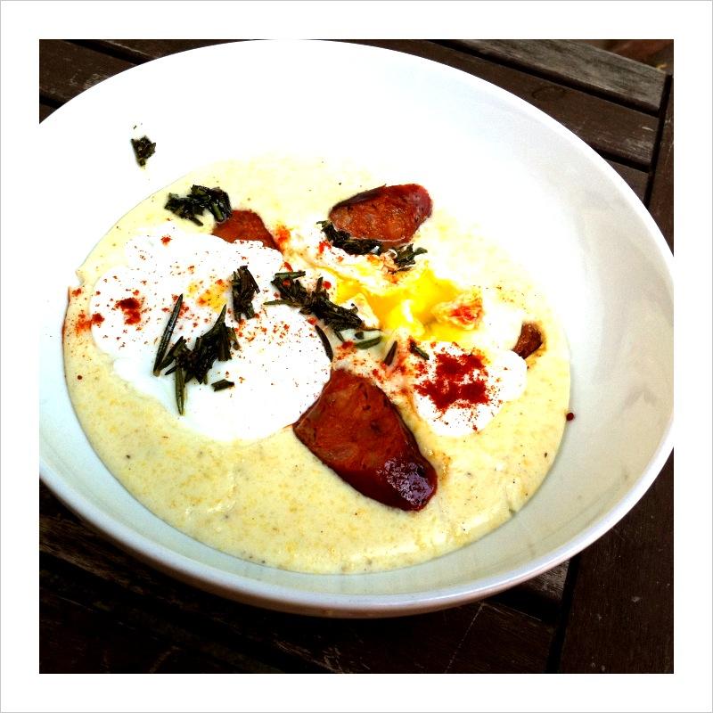 Breakfast Polenta with Linguica (or Pancetta) and Fried Rosemary