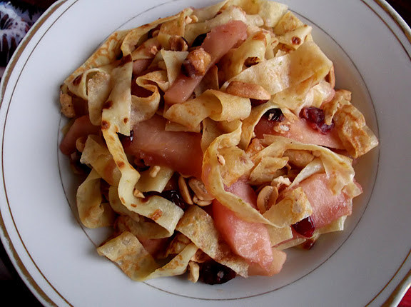 Holiday Breakfast Crepes with Caramelized Apples, Cranberries and Nuts