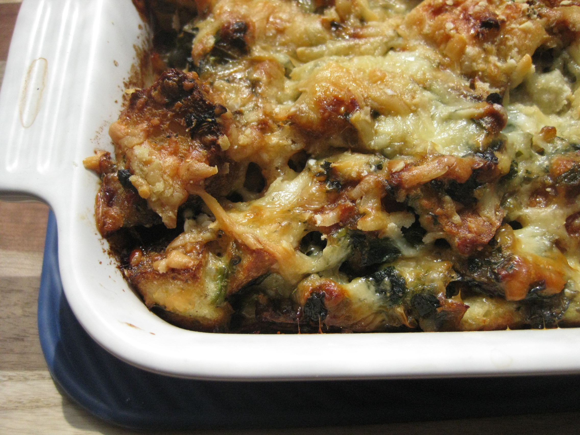 Cheesy Mushroom and Spinach Bread Pudding