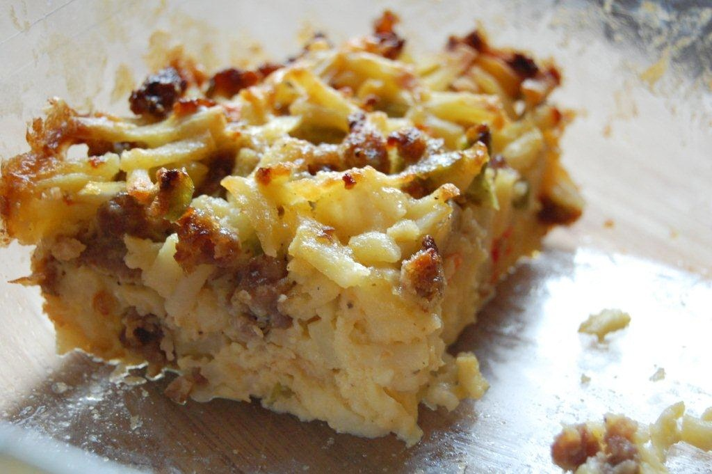 """Save me the corner"" Sausage and Potato Brunch Bake"