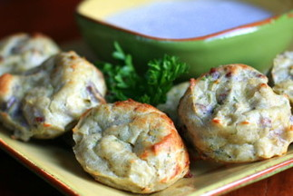 Chicken Pecan Bites with Blue Cheese Dip