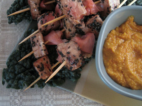 Black Sesame Tuna Skewers with Carrot-Miso Sauce