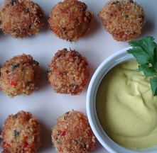 Curried Crab and Scallop Bites with Curry and Lime Mayo