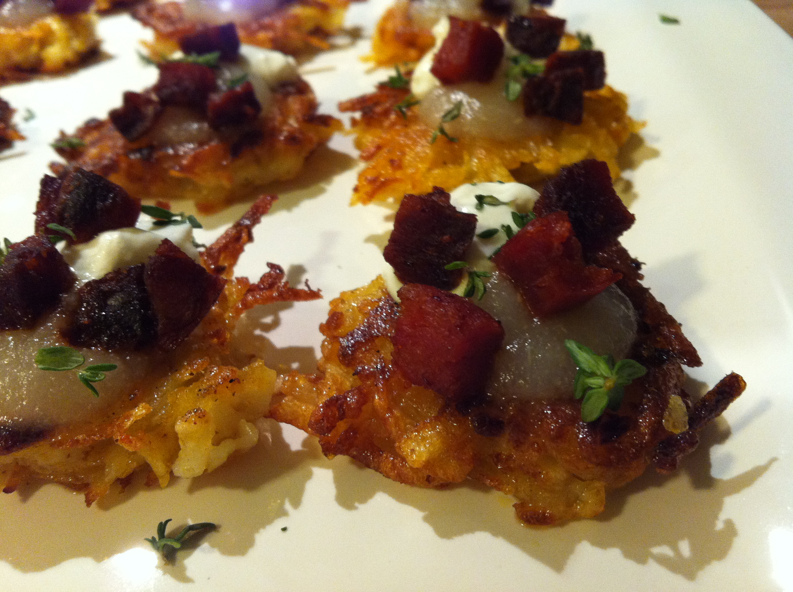 Potato Pancakes with Crispy Chorizo, Pear, and Cream