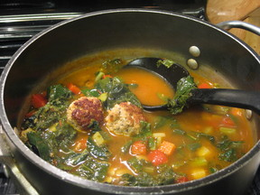 Greens Soup With Little Meatballs