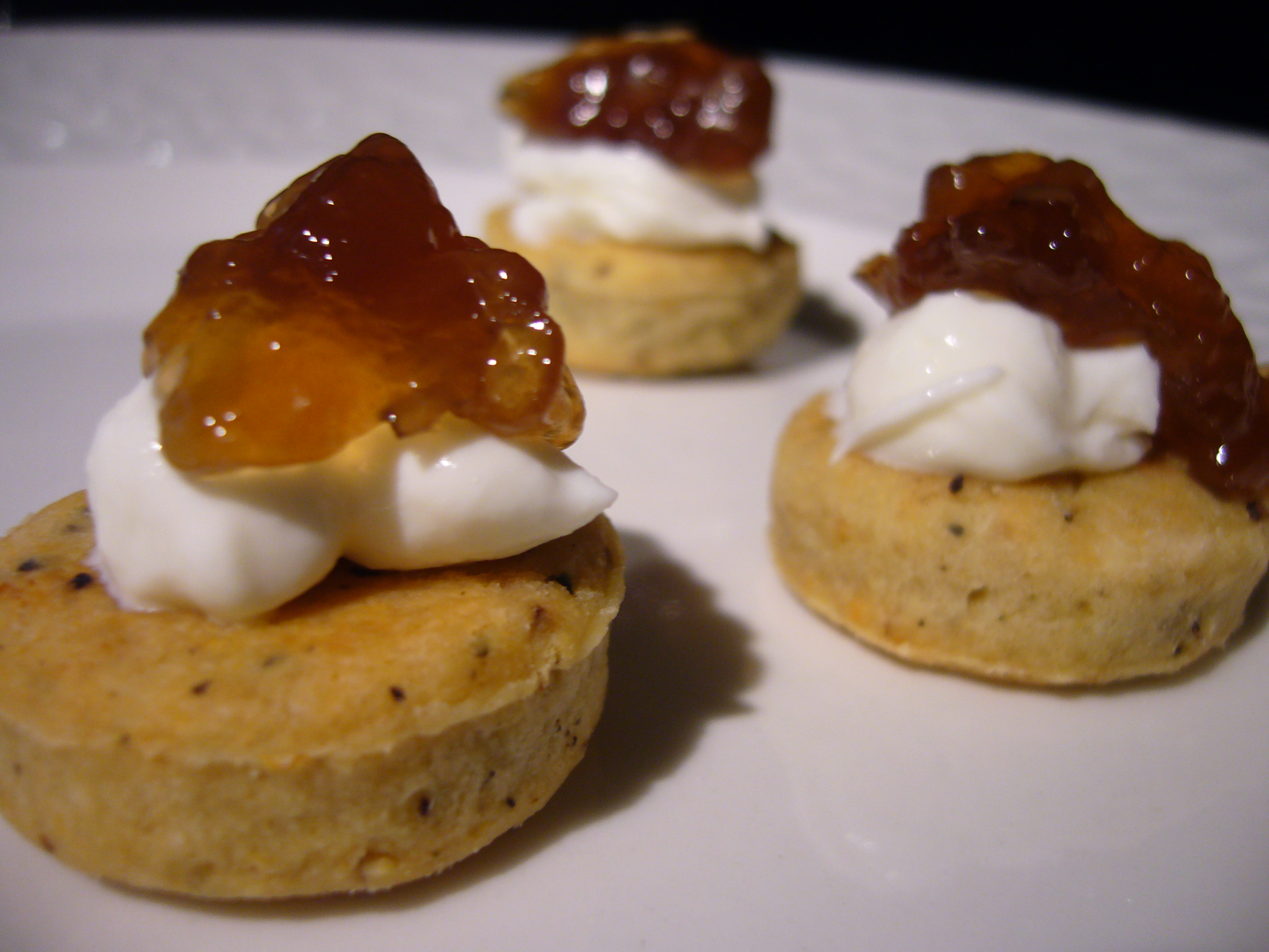 Herbed Biscuit Bites with Ricotta Cream and Onion Jam