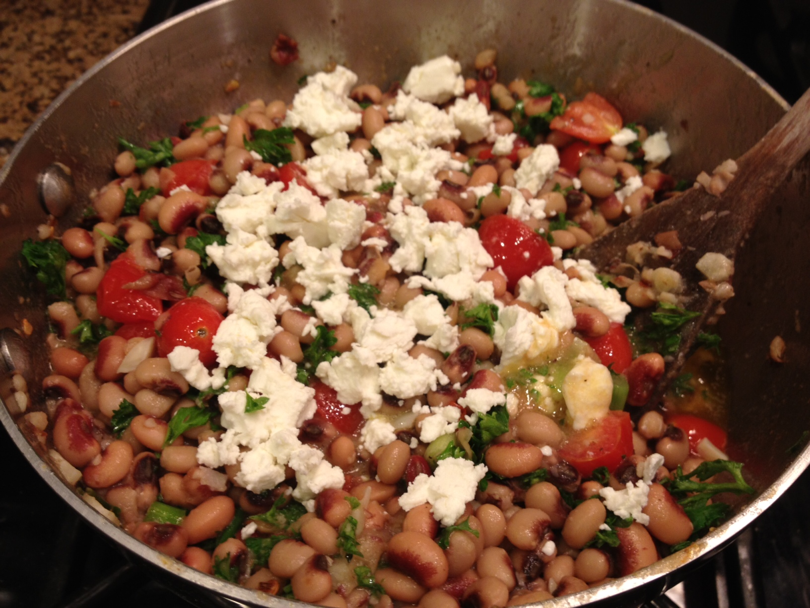 Easy Black-Eyed Peas with Chevre
