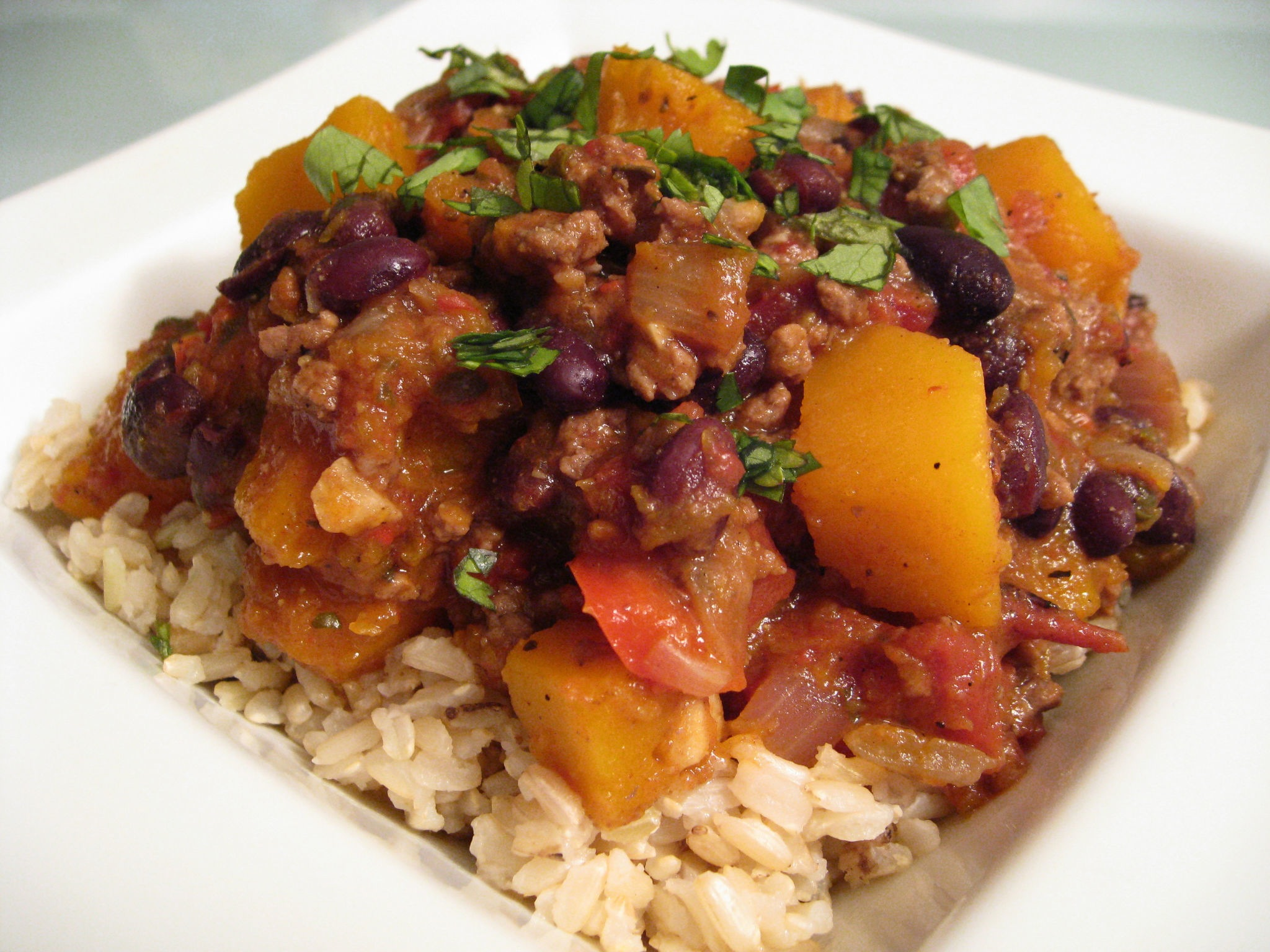 Almost Meatless Butternut Squash and Black Bean Chili