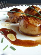 Caramelized Sea Scallops orange blossom honey