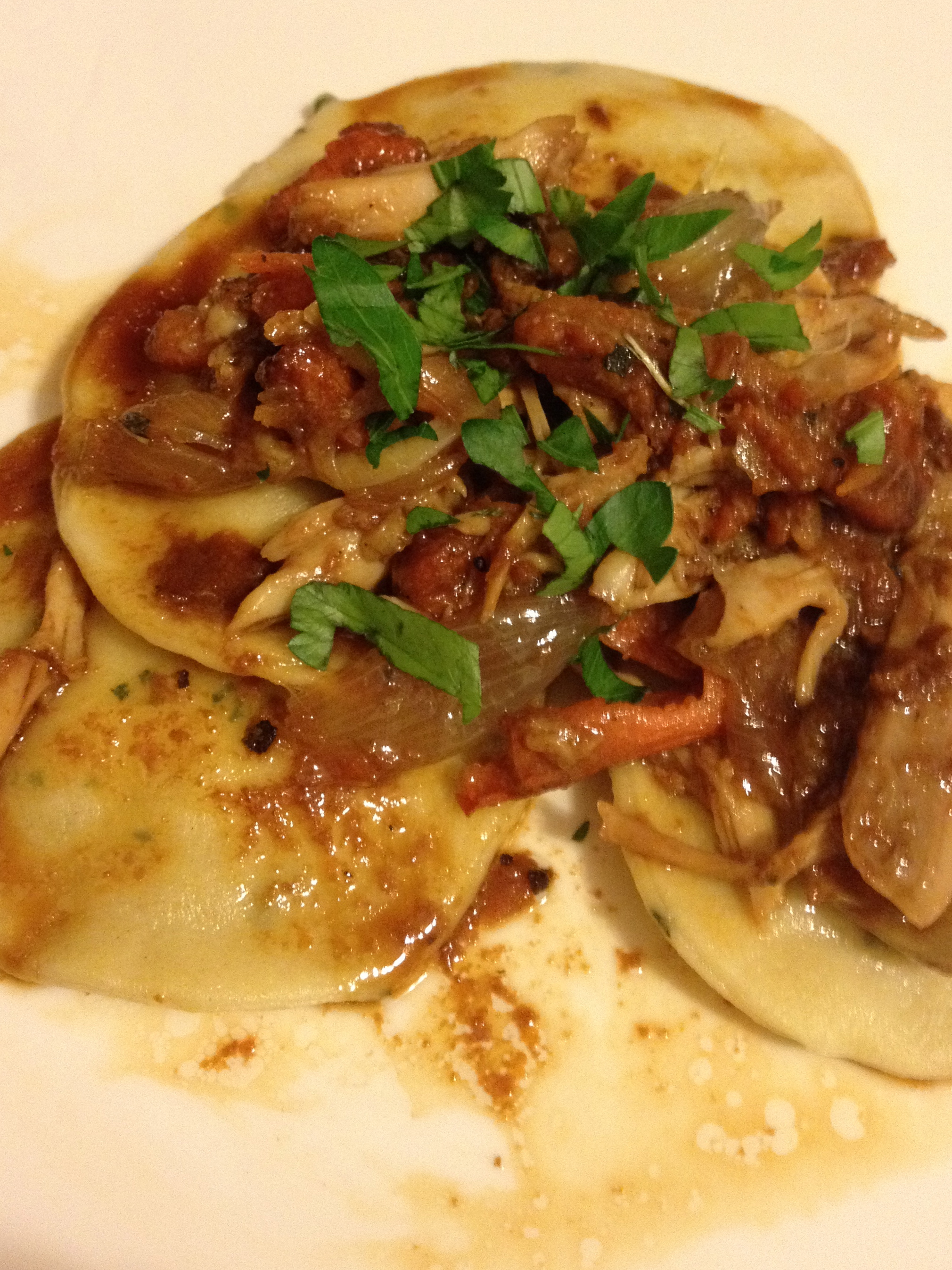 Homemade Sage Ravioli With Ricotta,Walnut and Shredded  Herbed Duck Sauce