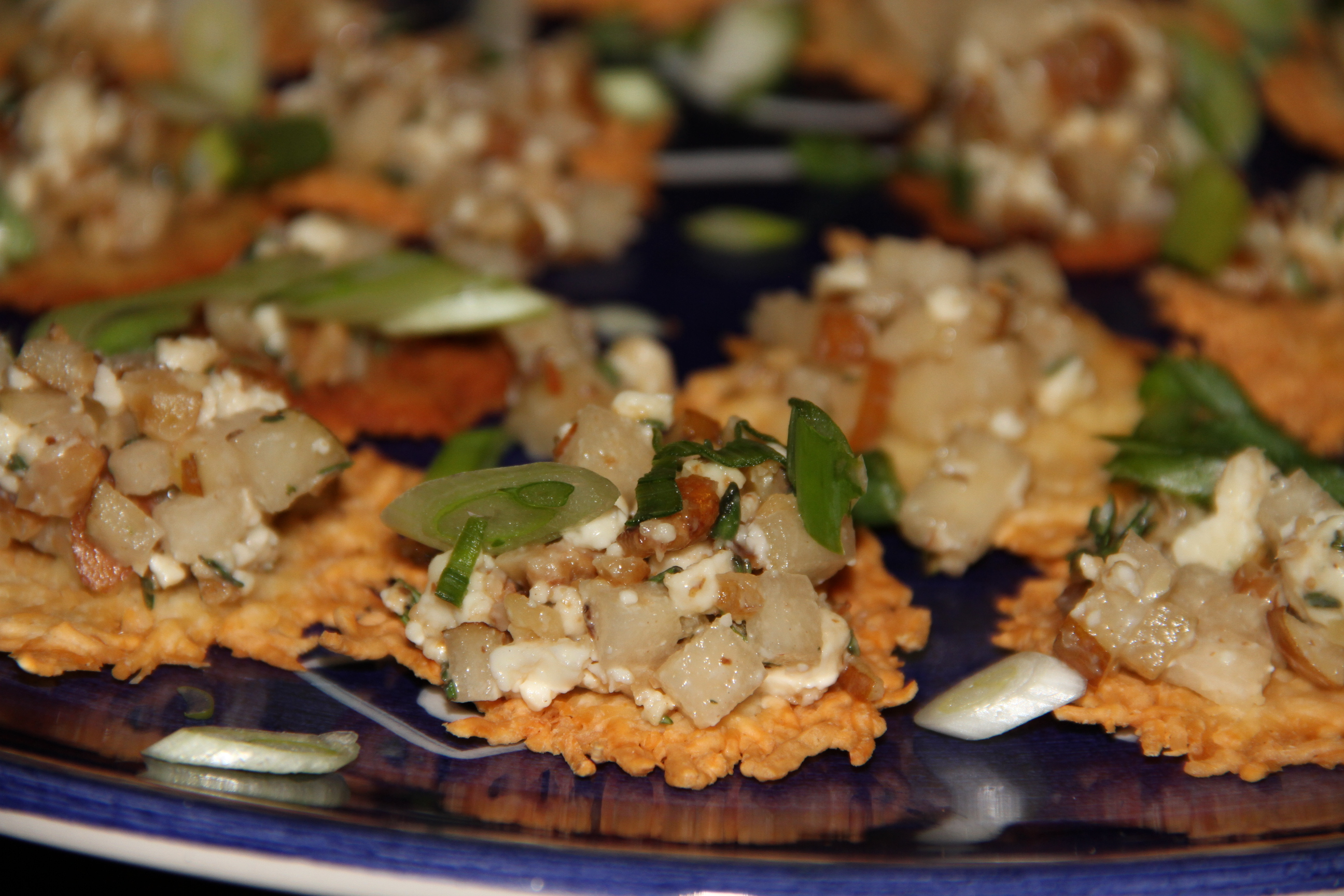 Winter Bliss--Parmesan Crackers with pear, gorgonzola and walnuts