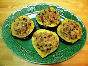 Acorn Squash Stuffed With Quinoa, Golden Raisins, Walnuts & Sage