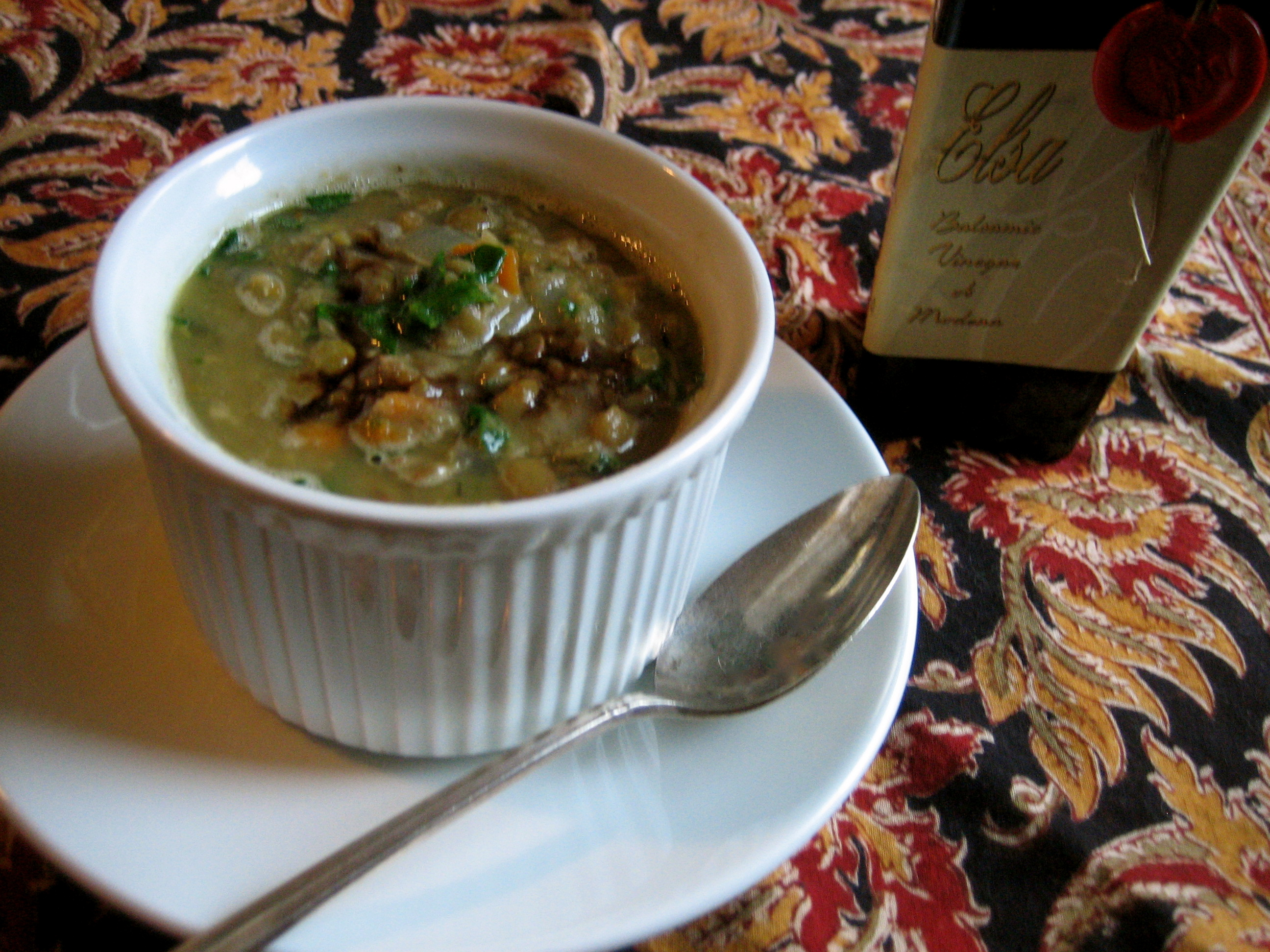 Lentil Soup with dry sherry and balsamic vinegar