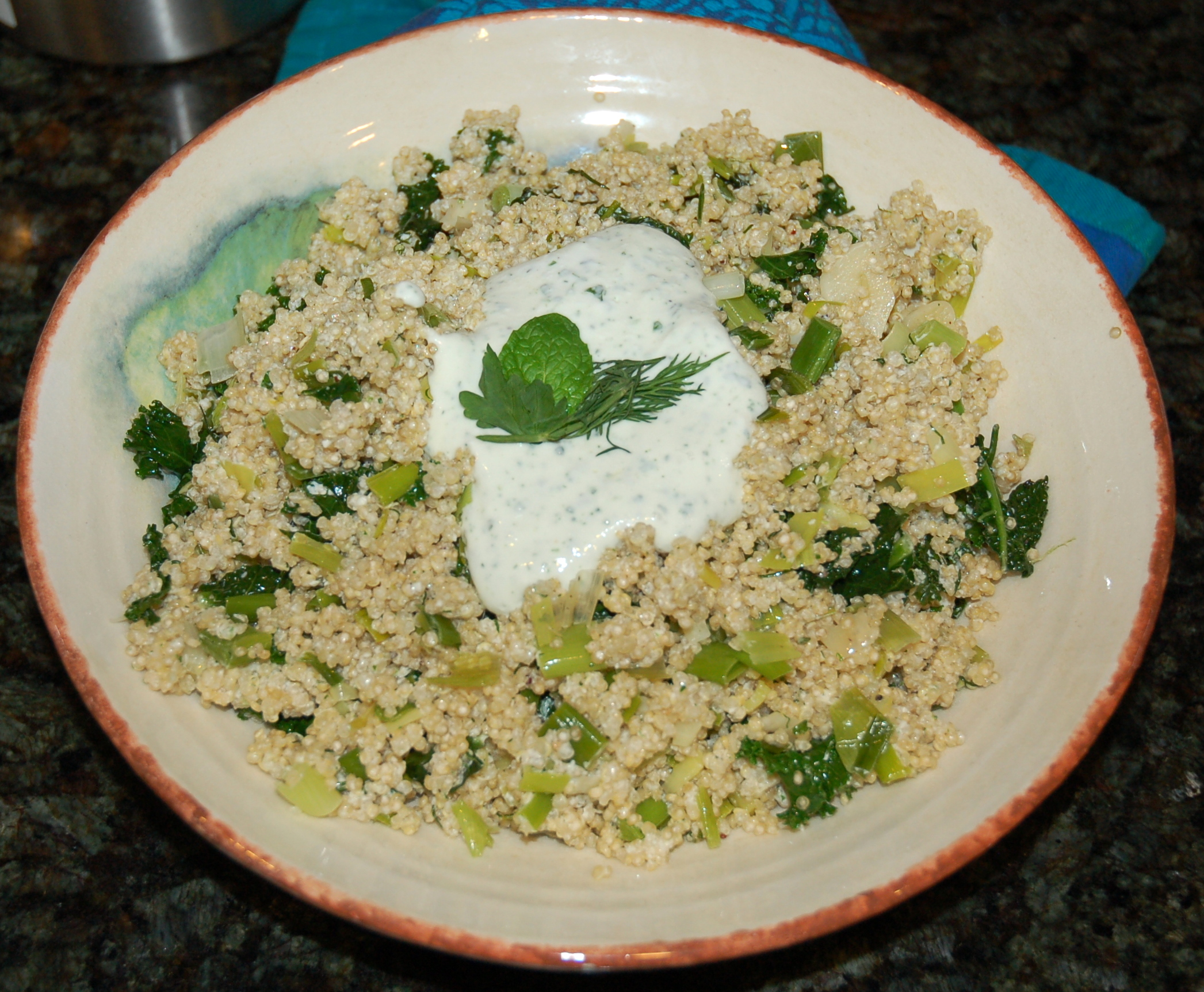 Greened Quinoa with Herbed Feta-Yogurt Dressing