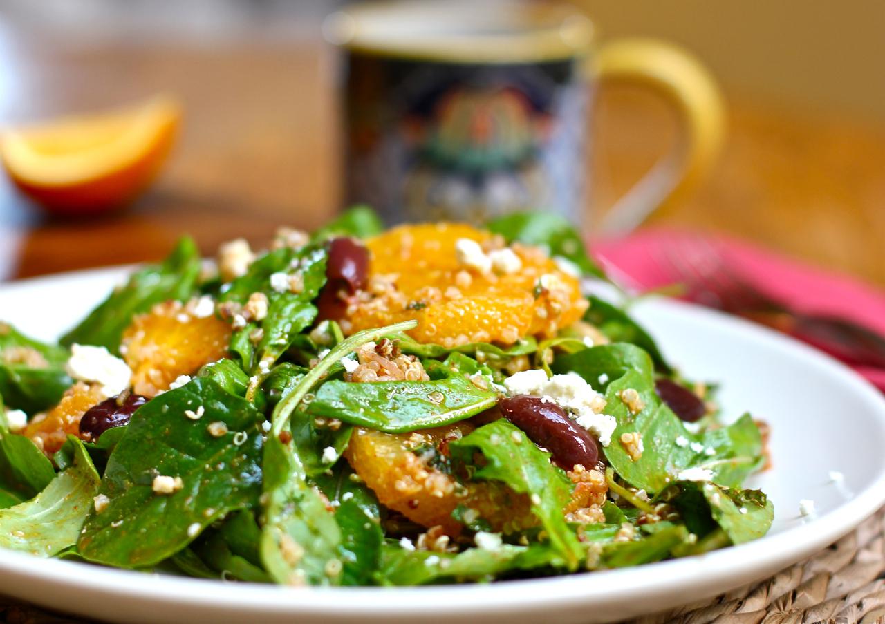 moroccan orange salad with arugula and quinoa recipe on food52