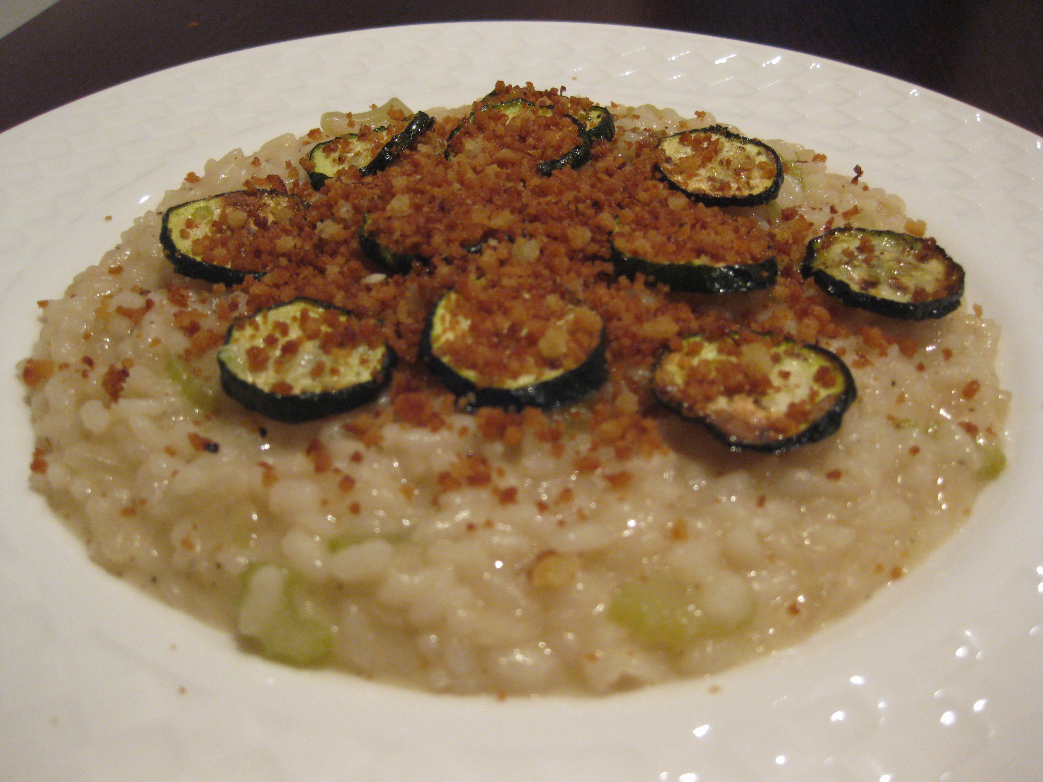 Lemon Risotto with courgette and pangratto