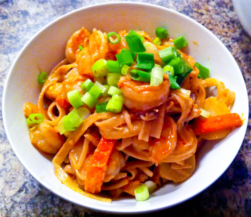 Spicy Peanut Butter Noodles With Shrimp
