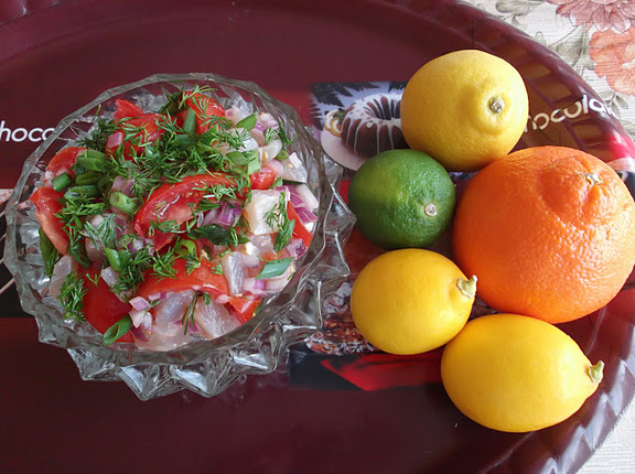 Citrus Cured and Marinated Red Snapper in a Salad