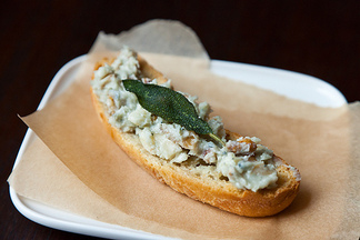 Walnut Gorgonzola Crostini with Crumble Fried Sage
