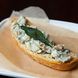 Walnut Gorgonzola Crostini w/Fried Sage by Ruthie Selch