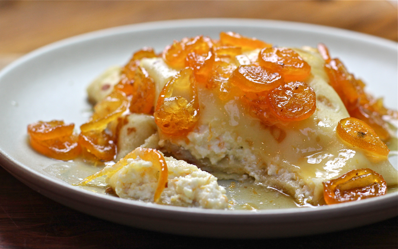Orange Ricotta Pillows with Lillet Kumquat Compote