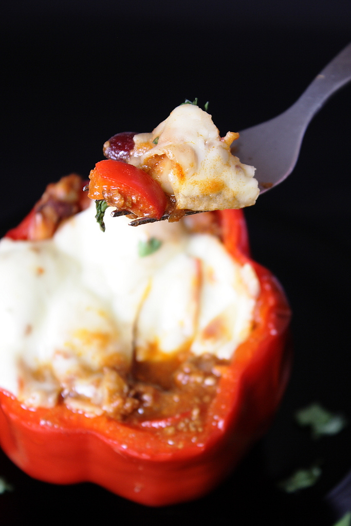 Chili Stuffed Bell Peppers with Melted Cheese 