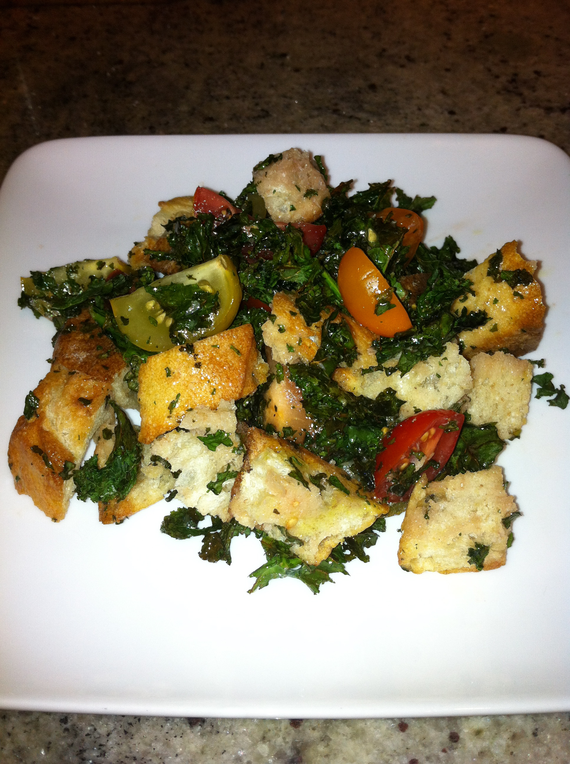 Toasted Kale Panzanella with Roasted Garlic Vinagrette