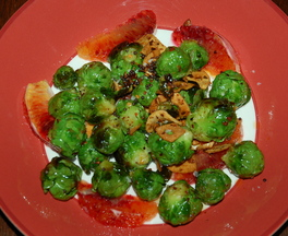 Spicy Pan Fried Brussels Sprouts with Blood Orange