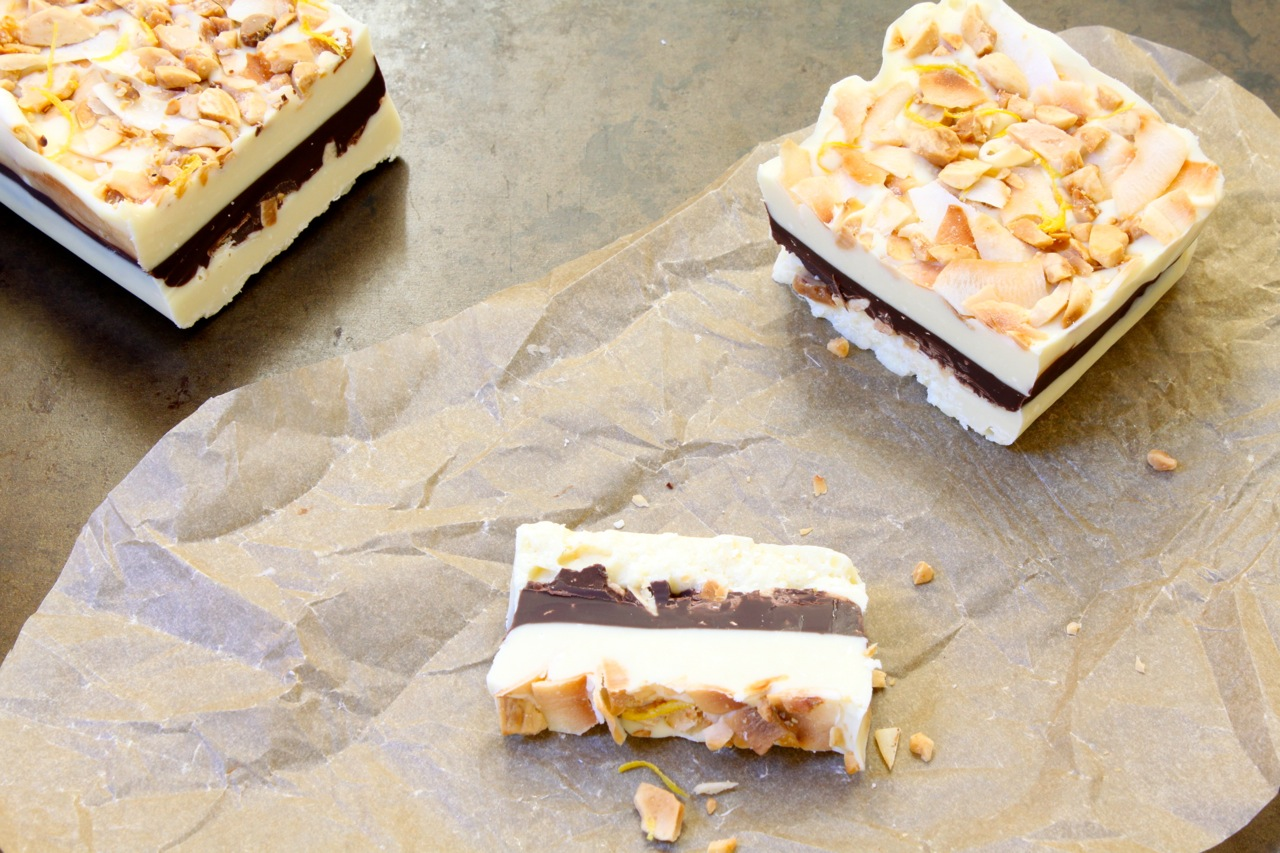 Salted White Chocolate + Toasted Cardamom Bar with Coconut + Limequat Zest