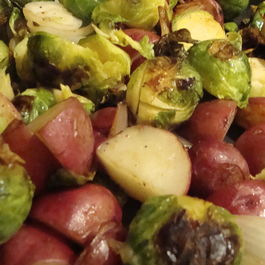 Brussel Sprouts/sweet potatoes/onions/