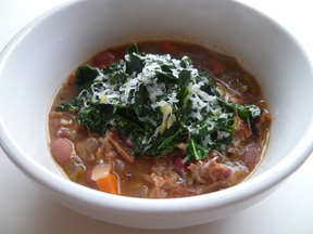 Barley and Cranberry Bean Soup with Kale