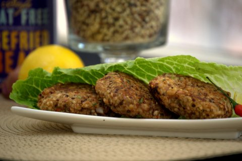 Romaine wrapped Refried Beans &amp; Quinoa Patties