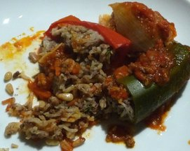 Rice and Ground Beef Stuffed Bell Peppers and Onions