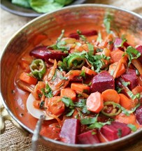 Spicy Beets &amp; Carrot Curry in Creamy Coconut Milk