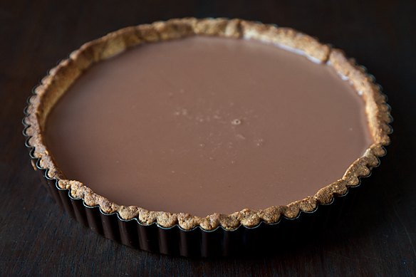 Milk Chocolate Nutmeg Tart with Hazelnut Crust