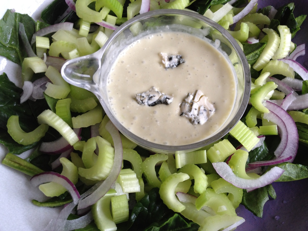 Celery in Blue-Cheese Dressing on Spinach Celery Salad