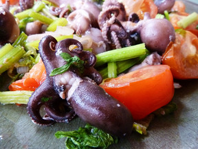 Chinese Celery and Baby Octopus, the Vietnamese way