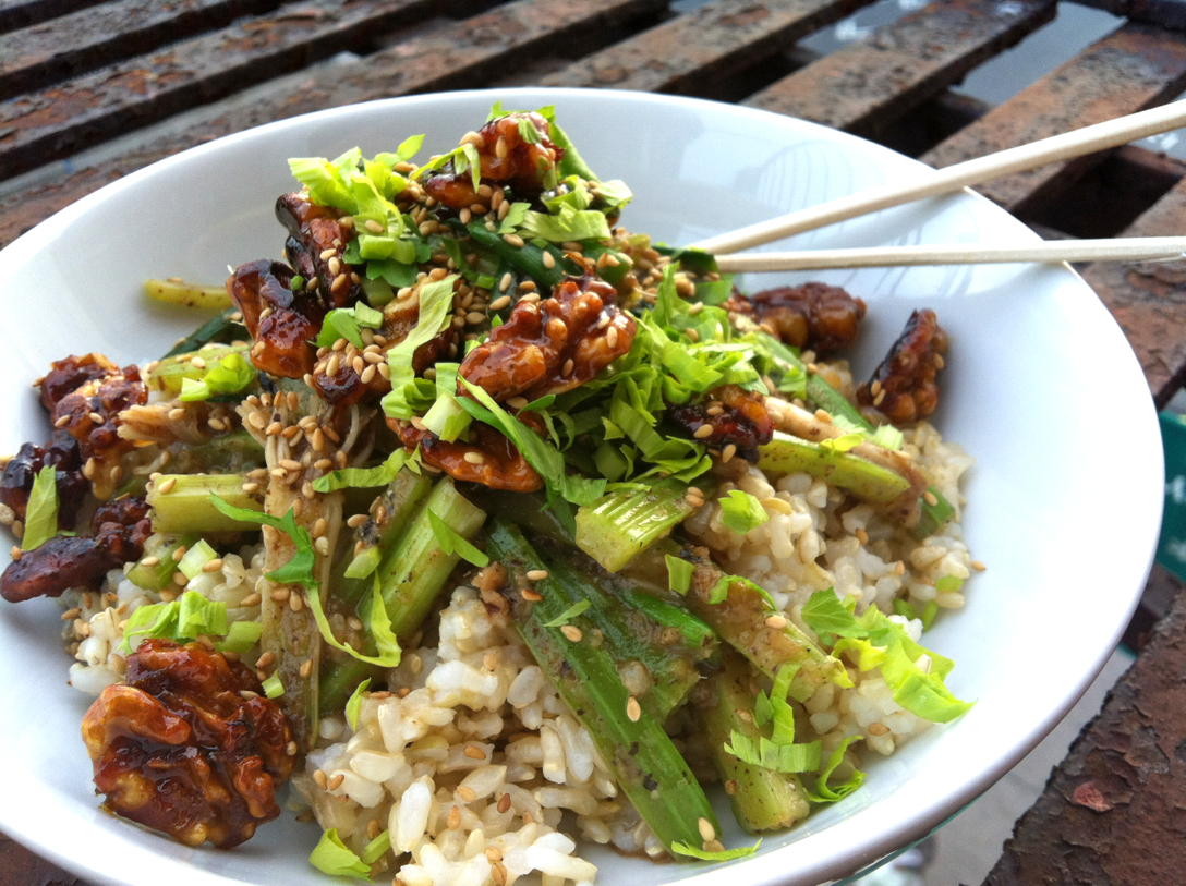 Celery &amp; Scallions in Black Bean Sauce with Orange Honey Glazed Walnuts