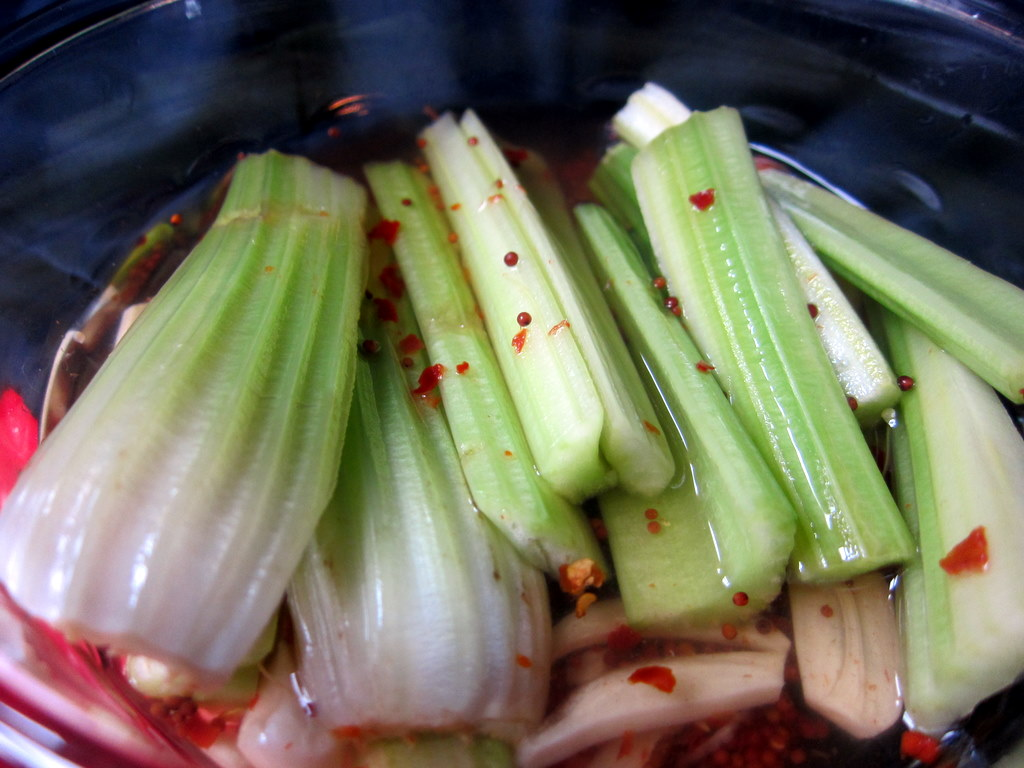 Spicy Celery Quick Pickle Sticks