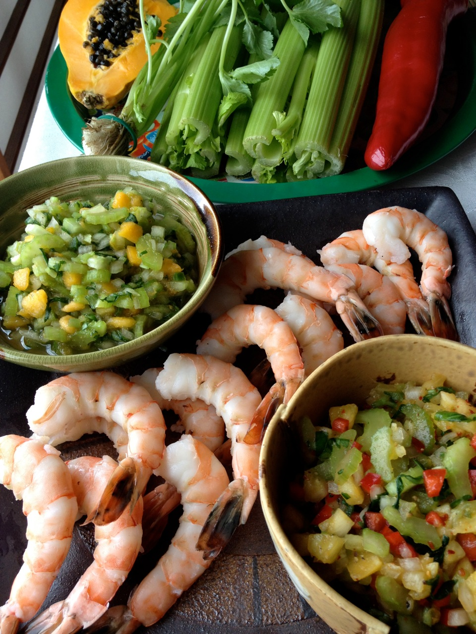 2 Celery Salsas: Mild Papaya & Spicy Pineapple with Steamed Shrimp or Tofu