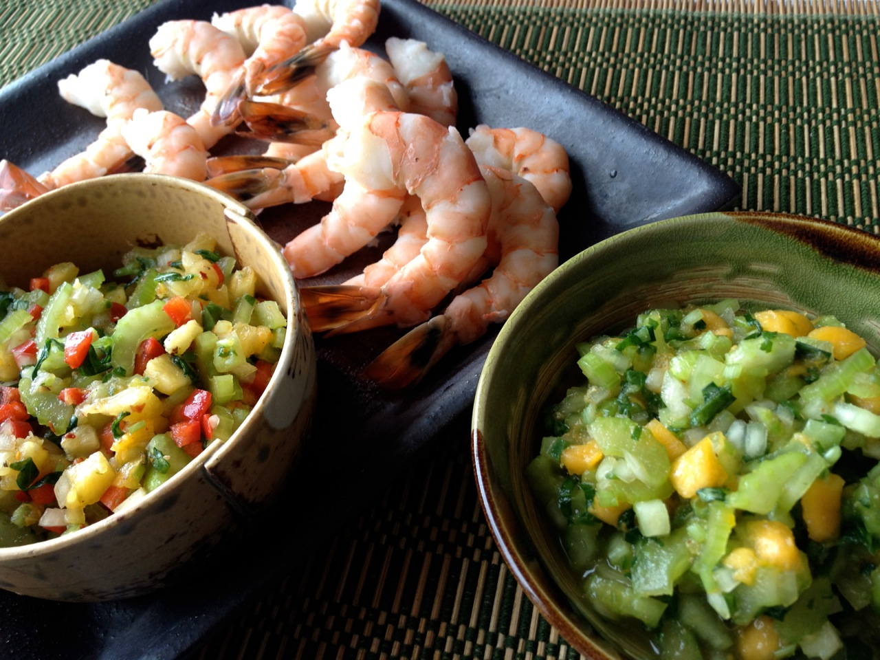 2 Celery Salsas: Mild Papaya &amp; Spicy Pineapple with Steamed Shrimp or Tofu 
